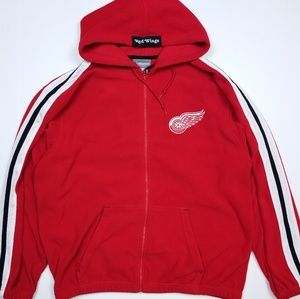 NHL Red Wings Hockey Zip Up Red Fleece Hoodie